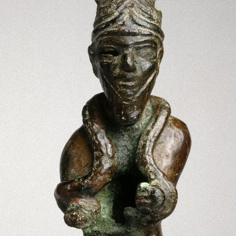 <p><i>Syrian Statuette of the God Shamash</i>. Syria, circa 1700&ndash;1600 <small>B.C.E.</small> Copper, height: 5<sup>5</sup>&frasl;<sub>16</sub> in. (13.5 cm). Brooklyn Museum, Purchased with funds given by Shelby White, the Ella C. Woodward Memorial Fund, and the Charles Edwin Wilbour Fund, 1995.27</p>