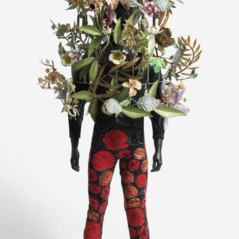 <p>Nick Cave (American, b. 1959). <i>Soundsuit</i>, 2008. Mixed media, 82 &#215; 24 &#215; 24 in. (208.3 &#215; 61 &#215; 61 cm). Brooklyn Museum, Mary Smith Dorward Fund, TL2009.6</p>
