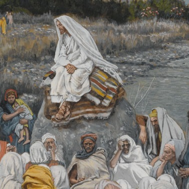 <p>James Tissot (French, 1836–1902). <i>Jesus Sits by the Seashore and Preaches</i>, 1886–96. Opaque watercolor over graphite on gray wove paper, 10<sup>3</sup>⁄<sub>16</sub> x 7<sup>9</sup>⁄<sub>16</sub> in. (25.9 &#215; 19.2 cm). Brooklyn Museum, Purchased by public subscription, 00.159.109</p>