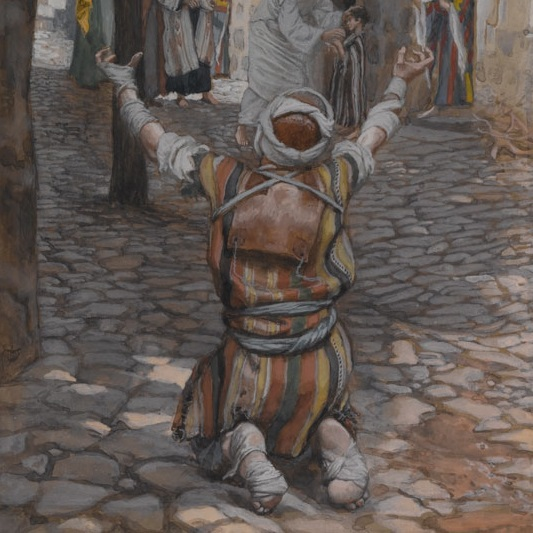 <p>James Tissot (French, 1836–1902). <i>Healing of the Lepers at Capernaum</i>, 1886–94. Opaque watercolor over graphite on gray wove paper, 11<sup>1</sup>⁄<sub>4</sub> x 6<sup>3</sup>⁄<sub>16</sub> in. (28.6 &#215; 15.7 cm). Brooklyn Museum, Purchased by public subscription, 00.159.89</p>