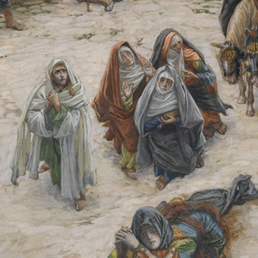 <p>James Tissot (French, 1836–1902). <i>What Our Lord Saw from the Cross</i>, 1886–94. Opaque watercolor over graphite on gray-green wove paper, 9<sup>3</sup>⁄<sub>4</sub> x 9<sup>1</sup>⁄<sub>6</sub> in. (24.8 &#215; 23 cm). Brooklyn Museum, Purchased by public subscription, 00.159.299</p>