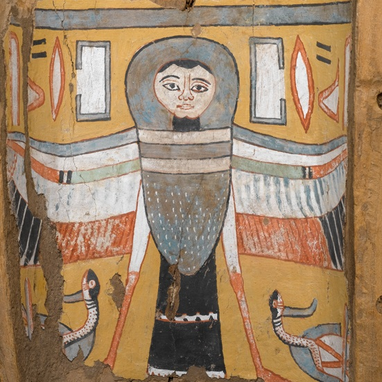 <p><i>Image of a Ba-Bird on a Footpiece from a Coffin</i>. Egypt. Third Intermediate Period, Dynasty 22, circa 945&minus;712 <small>B.C.E. </small>Wood and plaster, painted, 11 &times; 12<sup>5</sup>&frasl;<sub>8</sub> x 5<sup>5</sup>&frasl;<sub>8</sub> in. (28 &times; 32.1 &times; 14.3 cm). Brooklyn Museum, Charles Edwin Wilbour Fund, 75.27</p>