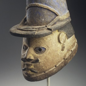 <p><em>Gelede Mask of a French Gendarme</em>. Unidentified Yoruba artist, late 19th or early 20th century. Benin. Wood, pigment, 10 &times; 7 &times; 11 in. (25.4 &times; 17.8 &times; 27.9 cm). Gift of Eugene and Harriet Becker, 1991.226.3</p>