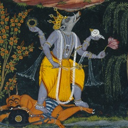 <p><i>Varaha Rescuing the Earth</i>, page from an illustrated <i>Dashavatara</i> series. India, circa 1730–40. Opaque watercolor, gold, and silver on paper, 10<sup>1</sup>⁄<sub>2</sub> x 8<sup>1</sup>⁄<sub>8</sub> in. (26.7 &#215; 20.6 cm). Brooklyn Museum Collection, by exchange, 41.1026</p>
