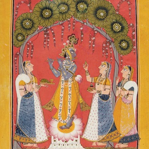 <p><i>Krishna Fluting for the Gopis</i>, page from an illustrated <i>Dashavatara</i> series. Northern India (Punjab Hills, Mankot), circa 1730. Opaque watercolor and gold on paper, 10<sup>1</sup>⁄<sub>4</sub> x 8 in. (26 &#215; 20.3 cm). Collection of Catherine and Ralph Benkaim</p>