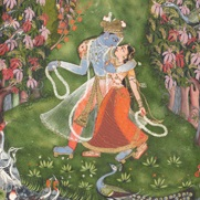 <p><i>Krishna and Radha in a Grove</i>. Northern India (Rajasthan, Kota), circa 1720. Opaque watercolor and gold on paper, 7<sup>1</sup>⁄<sub>2</sub> x 4<sup>3</sup>⁄<sub>8</sub> in. (19 &#215; 11.1 cm). The Metropolitan Museum of Art, Cynthia Hazen Polsky and Leon B. Polsky Fund, 2003.178a, b. © The Metropolitan Museum of Art / Art Resource, NY</p>