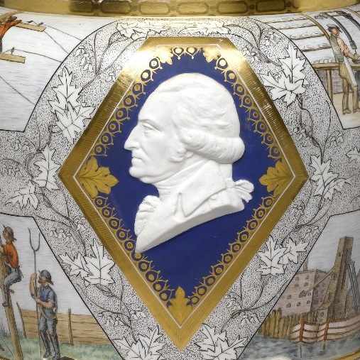 <p><i>Century Vase</i>, 1876. Designed by Karl L.H. Mueller. Manufactured by Union Porcelain Works. Greenpoint, now Brooklyn. Porcelain; height, 22<sup>1</sup>&frasl;<sub>4</sub> in. (56.5 cm); diameter of base, 10 in. (25.4 cm). Brooklyn Museum; Gift of Carll and Franklin Chace, in memory of their mother, Pastora Forest Smith Chace, daughter of Thomas Carll Smith, the founder of the Union Porcelain Works, 43.25</p>
