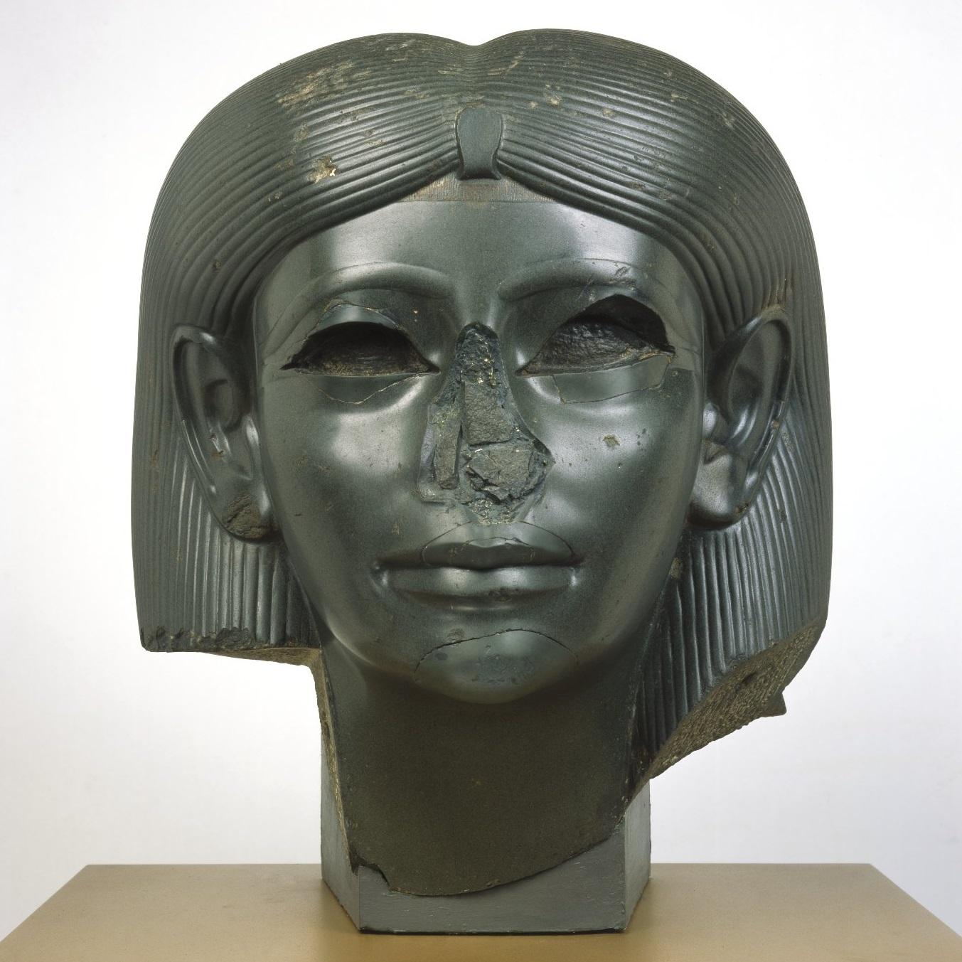 <p><i>Head from a Female Sphinx</i>, circa 1876&ndash;1842 <small>B.C.E.</small> Middle Kingdom, reign of Amenemhat II. Heliopolis, Egypt. Chlorite, 15<sup>5</sup>&frasl;<sub>16</sub> x 13 &times; 13<sup>15</sup>&frasl;<sub>16</sub> in. (38.9 &times; 33.3 &times; 35.4 cm). Brooklyn Museum; Charles Edwin Wilbour Fund, 56.85</p>