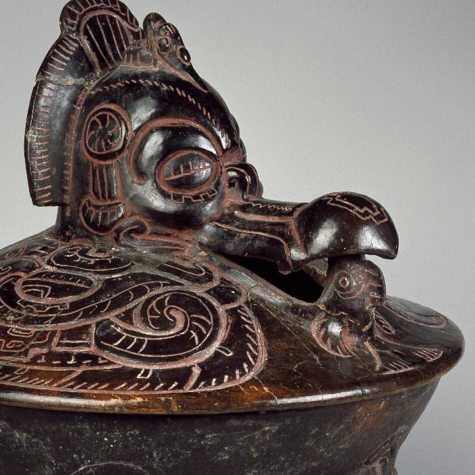 <p><i>Tetrapod Vessel with Lid</i>, 350&ndash;450. Unidentified Maya artist. Reported to have been found in Tabasco, Mexico. Ceramic, pigments, 6<sup>1</sup>&frasl;<sub>4</sub> x 10<sup>1</sup>&frasl;<sub>2</sub> x 10<sup>1</sup>&frasl;<sub>2</sub> in. (15.9 &times; 26.7 &times; 26.7 cm). Brooklyn Museum; Ella C. Woodward Memorial Fund, 64.217a-b</p>