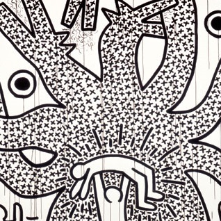 <p>Keith Haring (American, 1958–1990). <i>Untitled</i>, 1982. Sumi ink on paper, 107 &#215; 160 in. (271.8 &#215; 406.4 cm). Collection Keith Haring Foundation. © Keith Haring Foundation</p>