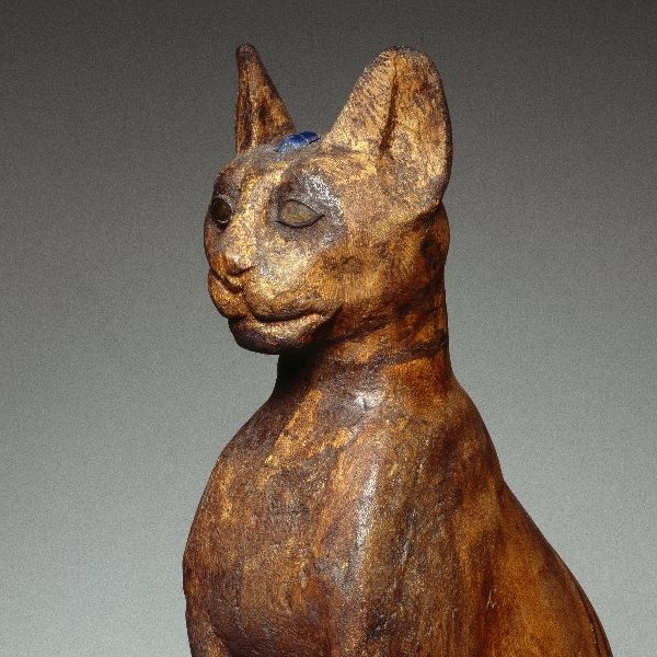 <p><em>Figure of a Cat</em>. From Egypt. Ptolemaic Period&ndash;Roman Period, 305 <small>B.C.E.</small>&ndash;first century <small>C.E</small>. Wood, gilded gesso, bronze, rock crystal, glass, 25<sup>9</sup>&frasl;<sub>16</sub> x 6<sup>5</sup>&frasl;<sub>16</sub> x 11<sup>13</sup>&frasl;<sub>16</sub> in. (65 &times; 16 &times; 30 cm). Brooklyn Museum, Charles Edwin Wilbour Fund, 37.1945E</p>