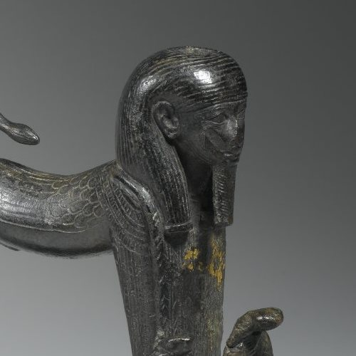 <p><em>Striding Sphinx Finial</em>. From Egypt. Third Intermediate Period, Dynasty 22 to Dynasty 24, circa 945&ndash;712 <small>B.C.E.</small> Bronze, 5<sup>1</sup>&frasl;<sub>2</sub> x 1<sup>5</sup>&frasl;<sub>8</sub> x 5 in. (14 &times; 4.1 &times; 12.7 cm). Brooklyn Museum, Charles Edwin Wilbour Fund, 61.20</p>