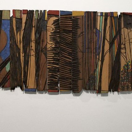 <p>El Anatsui (Ghanaian, b. 1944). <i>Conspirators</i>, 1997. Wooden relief with paint, 24 &#215; 55<sup>3</sup>⁄<sub>4</sub> x <sup>7</sup>⁄<sub>8</sub> in. (61 &#215; 141.6 &#215; 2.2 cm). Courtesy of the artist and Jack Shainman Gallery, New York. Brooklyn Museum photograph</p>