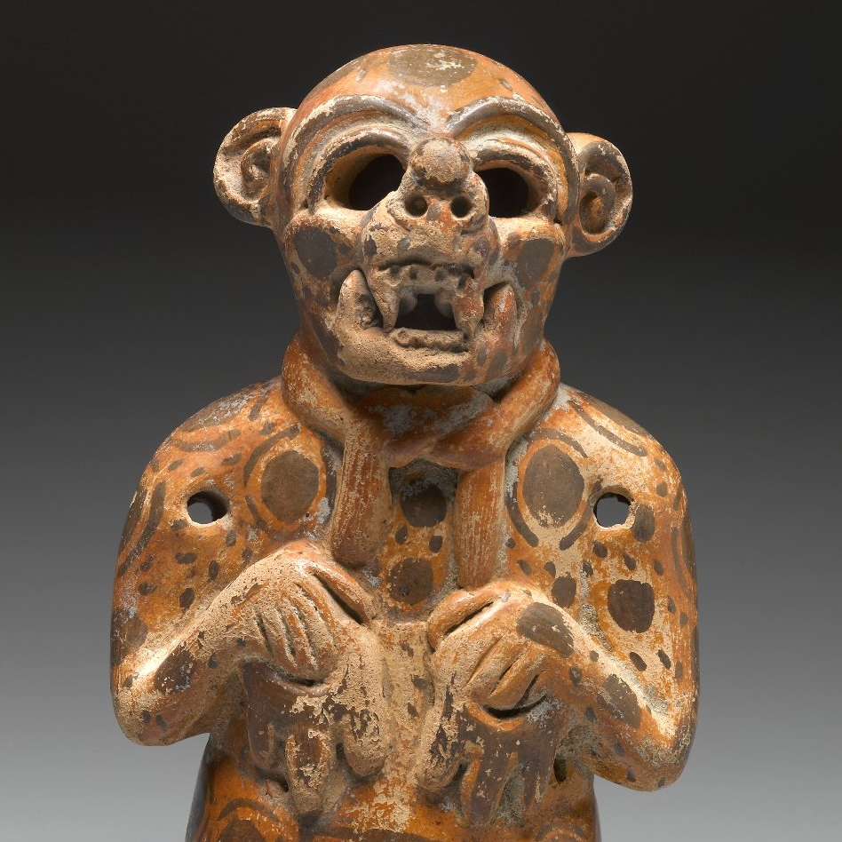 <p>Maya artist. <i>Effigy Vessel in the Form of a Jaguar Impersonator</i>, 400–500. Mexico or Peten, Guatemala. Ceramic, pigment, 7 &#215; 4<sup>1</sup>⁄<sub>4</sub> x 3 in. (17.8 &#215; 10.8 &#215; 7.6 cm). Brooklyn Museum, Gift in memory of Frederic Zeller, 2009.2.11</p>