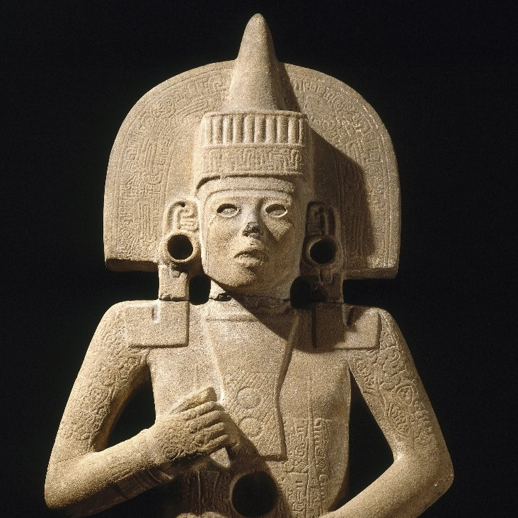 <p>Huastec artist. <i>Life-Death Figure</i>, 900–1250. Possibly found at the site of Chilitujú near San Vicente Tancuayalab, San Luis Potosí, Mexico. Sandstone, traces of pigment, 62<sup>3</sup>⁄<sub>8</sub> x 26 &#215; 11<sup>1</sup>⁄<sub>2</sub> in. (158.4 &#215; 66 &#215; 29.2 cm). Brooklyn Museum, Frank Sherman Benson Fund and the Henry L. Batterman Fund, 37.2897PA</p>