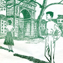 <p>Washington Square strolling couple. Cover of <i>The Ladder</i>, April 1959. Courtesy of the Gay, Lesbian, Bisexual, Transgender Historical Society, San Francisco</p>