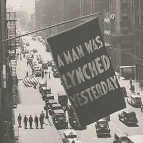 <p>Flag, announcing lynching, flown from the window of the NAACP headquarters on 69 Fifth Ave., New York City, 1936. Photograph, 13<sup>7</sup>&frasl;<sub>16</sub> x 10<sup>7</sup>&frasl;<sub>16</sub> in. (34.1 x 26.5 cm). Prints and Photographs Division, Library of Congress, Washington, D.C, LC-DIG-ppmsca-39304. Courtesy of The Crisis Publishing Co., Inc., the publisher of the magazine of the National Association for the Advancement of Colored People, for material first published in <em>The Crisis</em></p>