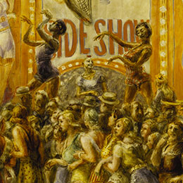 <p>Reginald Marsh (American, 1898&ndash;1954). <em>Pip and Flip</em>, 1932. Tempera on paper mounted on canvas, 48<sup>1</sup>&frasl;<sub>4</sub> x 48<sup>1</sup>&frasl;<sub>4</sub> in. (122.6 &times; 122.6 cm). Terra Foundation for American Art, Chicago, Daniel J. Terra Collection, 1999.96. Photo: Terra Foundation for American Art, Chicago/Art Resource, New York; &copy; 2013 Estate of Reginald Marsh/Art Students League, New York/Artists Rights Society (ARS), New York</p>