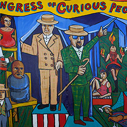 <p>Marie Roberts (American, born 1954). <em>A Congress of Curious Peoples</em>, 2005. Acrylic on unstretched canvas, 84 &times; 120 in. (213.4 &times; 304.8 cm). Collection of Liz and Marc Hartzman</p>