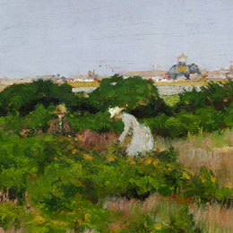 <p>William Merritt Chase (American, 1849&ndash;1916). <em>Landscape, near Coney Island</em>, circa 1886. Oil on panel, 8<sup>1</sup>&frasl;<sub>8</sub> x 12<sup>5</sup>&frasl;<sub>8</sub> in. (20.6 &times; 32 cm). The Hyde Collection, Glens Falls, New York; Gift of Mary H. Beeman to the Pruyn Family Collection, 1995.12.7</p>