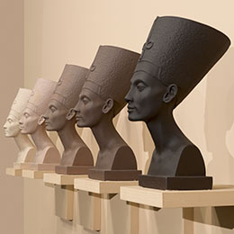<p>Fred Wilson (American, born 1954). <em>Grey Area (Brown Version)</em>, 1993. Paint, plaster, and wood; five busts, each: 18<sup>3</sup>&frasl;<sub>4</sub> x 9 &times; 13 in. (47.6 &times; 22.9 &times; 33 cm); overall: 20 &times; 84 in. (50.8 &times; 213.4 cm). Brooklyn Museum, Bequest of William K. Jacobs, Jr., and bequest of Richard J. Kempe, by exchange, 2008.6a&ndash;j. (Photo: Sarah DeSantis and Jonathan Dorado, Brooklyn Museum)</p>