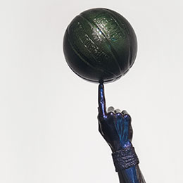 <p>Hank Willis Thomas (American, born 1976). <em>Liberty</em>, 2015, from the <em>Punctum</em> series. Fiberglass, with chameleon auto paint finish, 35 &times; 10 &times; 10 in. (88.9 &times; 25.4 &times; 25.4 cm). Brooklyn Museum, Gift of the artist and Jack Shainman in honor of Arnold Lehman, 2015.57a, b. &copy; Hank Willis Thomas. (Photo: Jonathan Dorado, Brooklyn Museum)</p>