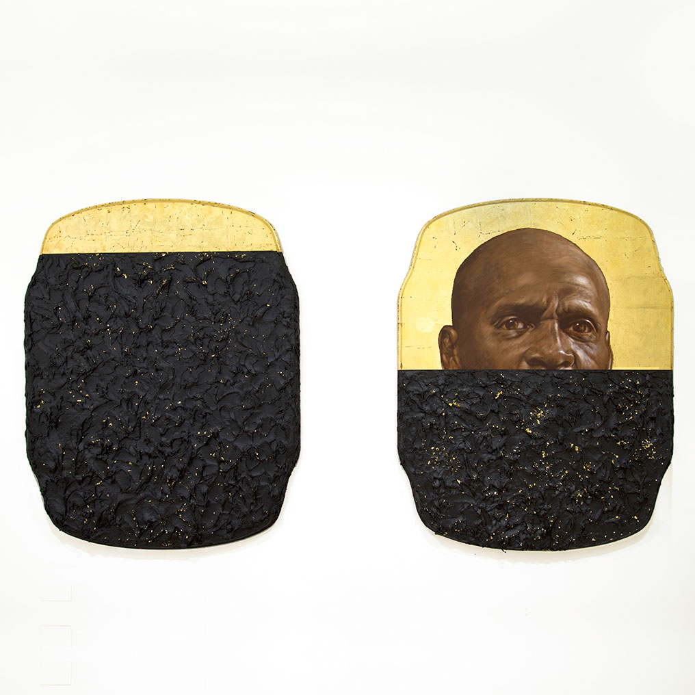 Titus Kaphar (American, born 1976) The Jerome Project (My Loss), 2014. Oil, gold leaf, and tar on wood panel, each 761⁄2 x 591⁄2 x 33⁄4 in. (194.3 × 151.1 × 9.5 cm). Brooklyn Museum, William K. Jacobs, Jr. Fund, 2015.7a–b. © Titus Kaphar. Photo: Courtesy of the artist and Jack Shainman Gallery, New York, 2015