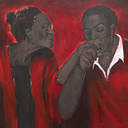 <p>Lynette Yiadom-Boakye (British, born Ghana, 1977). <em>The Root</em>, 2011. Oil on canvas, 74<sup>7</sup>&frasl;<sub>16</sub> x 78<sup>3</sup>&frasl;<sub>4</sub> in. (189 &times; 200 cm). Collection of Miyoung Lee and Neil Simpkins, L2014.5. Courtesy of the artist, Jack Shainman Gallery, New York, and Corvi-Mora, London. &copy; Lynette Yiadom-Boakye. (Photo: Jonathan Dorado, Brooklyn Museum)</p>