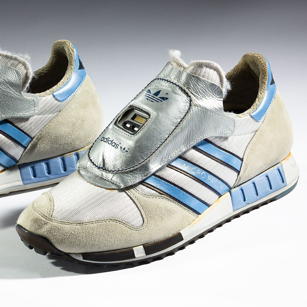 <p>adidas. Micropacer, 1984. Collection of the Bata Shoe Museum, Toronto; Gift of Phillip Nutt. (Photo: Ron Wood. Courtesy American Federation of Arts/Bata Shoe Museum)</p>