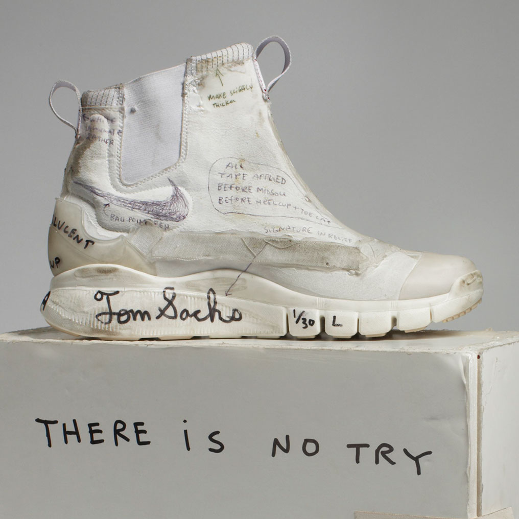 <p>Nike x Tom Sachs. NikeCraft Lunar Underboot Aeroply Experimentation Research Boot Prototype, 2008&ndash;12. Collection of the artist. (Photo: Courtesy American Federation of Arts)</p>