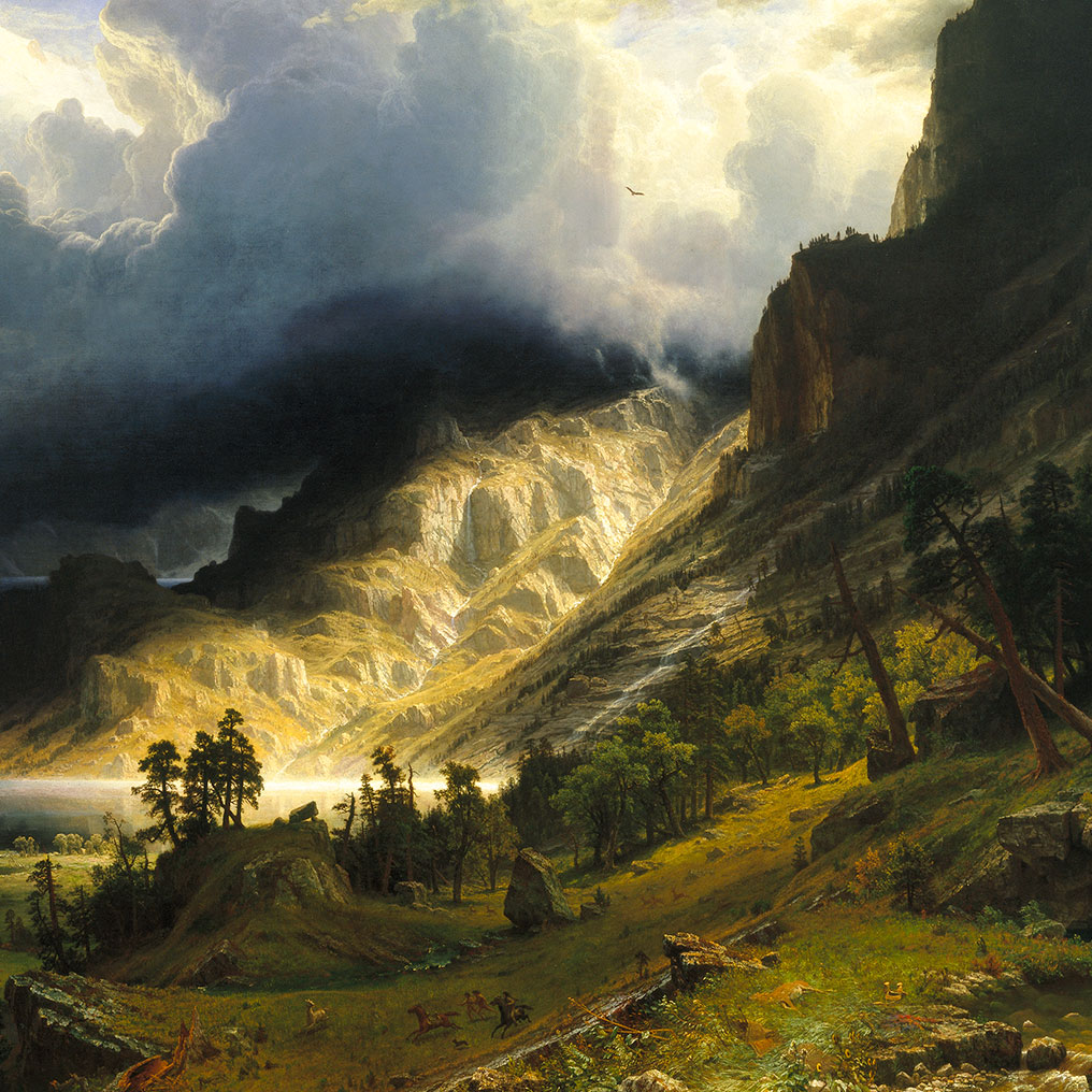 <p>Albert Bierstadt (American, born Germany, 1830&ndash;1902).<em> A Storm in the Rocky Mountains, Mt. Rosalie</em>, 1866. Oil on canvas, 83 x 142<sup>1</sup>/<sub>4</sub> in. (210.8 x 361.3 cm). Brooklyn Museum, Dick S. Ramsay Fund, Healy Purchase Fund B, Frank L. Babbott Fund, A. Augustus Healy Fund, Ella C. Woodward Memorial Fund, Carll H. de Silver Fund, Charles Stewart Smith Memorial Fund, Caroline A.L. Pratt Fund, Frederick Loeser Fund, Augustus Graham School of Design Fund, Museum Collection Fund, Special Subscription, and John B. Woodward Memorial Fund; Purchased with funds given by Daniel M. Kelly and Charles Simon; Bequest of Mrs. William T. Brewster, Gift of Mrs. W. Woodward Phelps in memory of her mother and father, Ella M. and John C. Southwick, Gift of Seymour Barnard, Bequest of Laura L. Barnes, Gift of J.A.H. Bell, and Bequest of Mark Finley, by exchange, 76.79</p>