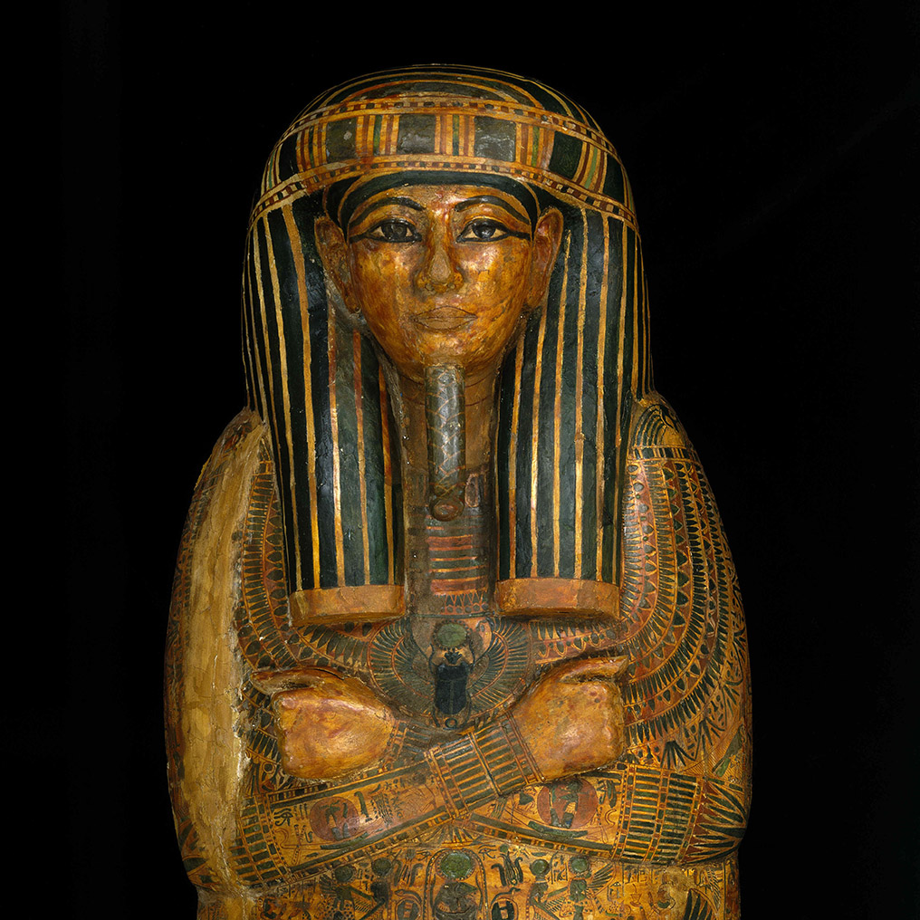 <p>Coffin and Mummy Board of Pa-seba-khai-en-ipet. Egypt, from Thebes. Third Intermediate Period, circa 1070&ndash;945 <small>B.C.E.</small> Wood, painted, 76<sup>3</sup>&frasl;<sub>8</sub> x 21<sup>5</sup>&frasl;<sub>8</sub> x 12<sup>5</sup>&frasl;<sub>8</sub> in. (194 &times; 55 &times; 32 cm). Brooklyn Museum, Charles Edwin Wilbour Fund, 08.480.2a&ndash;c</p>