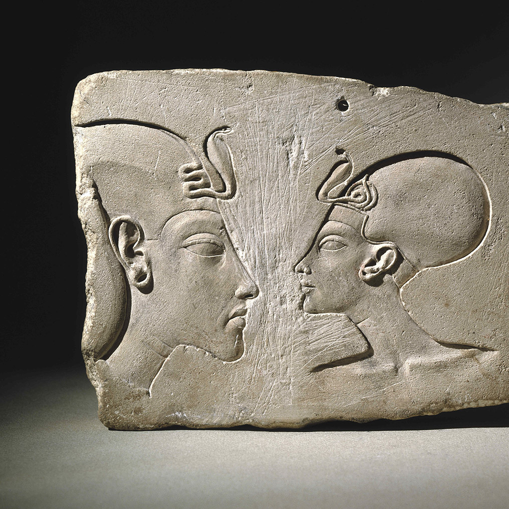<p><em>The Wilbour Plaque</em>. Egypt, probably from Akhetaten (&ldquo;Horizon of the Aten&rdquo;), modern Amarna. New Kingdom, Dynasty 18, reign of Akhenaten, probably late in his reign, circa 1352&ndash;1336 <small>B.C.E.</small> Limestone, 6<sup>3</sup>&frasl;<sub>16</sub> x 8<sup>11</sup>&frasl;<sub>16</sub> x 1<sup>5</sup>&frasl;<sub>8</sub> in. (15.7 &times; 22.1 &times; 4.1 cm). Brooklyn Museum, Gift of Evangeline Wilbour Blashfield, Theodora Wilbour, and Victor Wilbour honoring the wishes of their mother, Charlotte Beebe Wilbour, as a memorial to their father, Charles Edwin Wilbour, 16.48</p>
