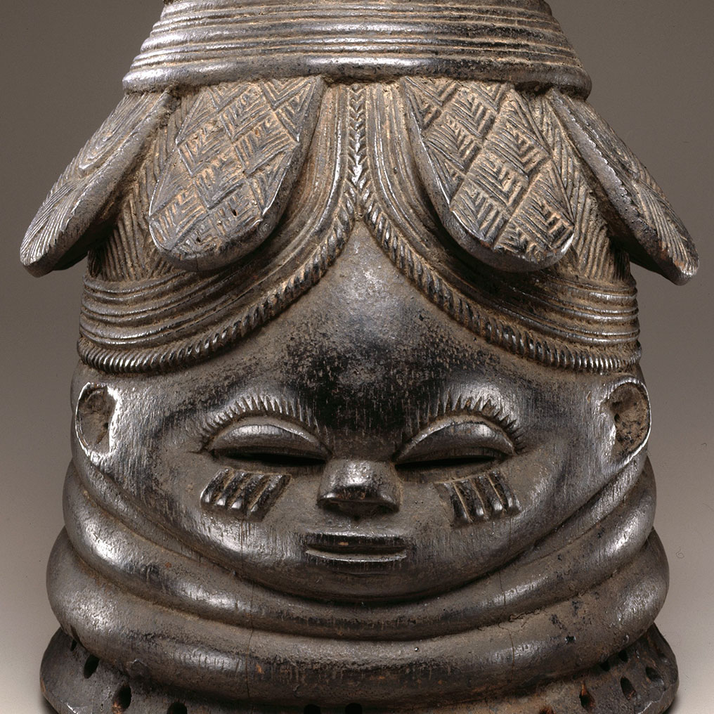 <p>The Nguabu Master (Mende). <em>Helmet Mask for Sande Society</em> <em>(Ndoli Jowei),</em> late 19th-early 20th century. Nguabu, Moyamba district, Southern province, Sierra Leone. Wood, pigment, 15<sup>1</sup>&frasl;<sub>2</sub> x 9<sup>1</sup>&frasl;<sub>4</sub> x 10<sup>1</sup>&frasl;<sub>4</sub> in. (39.4 x 23.5 x 26 cm). Brooklyn Museum, Carll H. de Silver Fund, 74.64. Creative Commons-BY. Photo: Brooklyn Museum</p>