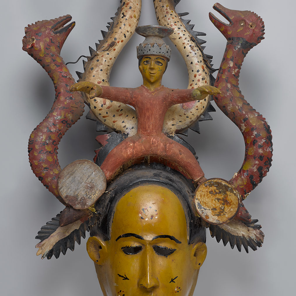 <p>Unidentified Temne artist. <em>Ode-Lay Mask</em>, mid-20th century. Freetown, Sierra Leone. Wood, paint, plastic, metal, 28<sup>1</sup>&frasl;<sub>2</sub> x 15<sup>3</sup>&frasl;<sub>4</sub> x 7<sup>7</sup>&frasl;<sub>8</sub> in. (72.3 x 40 x 20 cm). Brooklyn Museum, Gift of Dr. and Mrs. Milton Gross, by exchange, 2013.25. Creative Commons-BY. Photo: Sarah DeSantis, Brooklyn Museum</p>