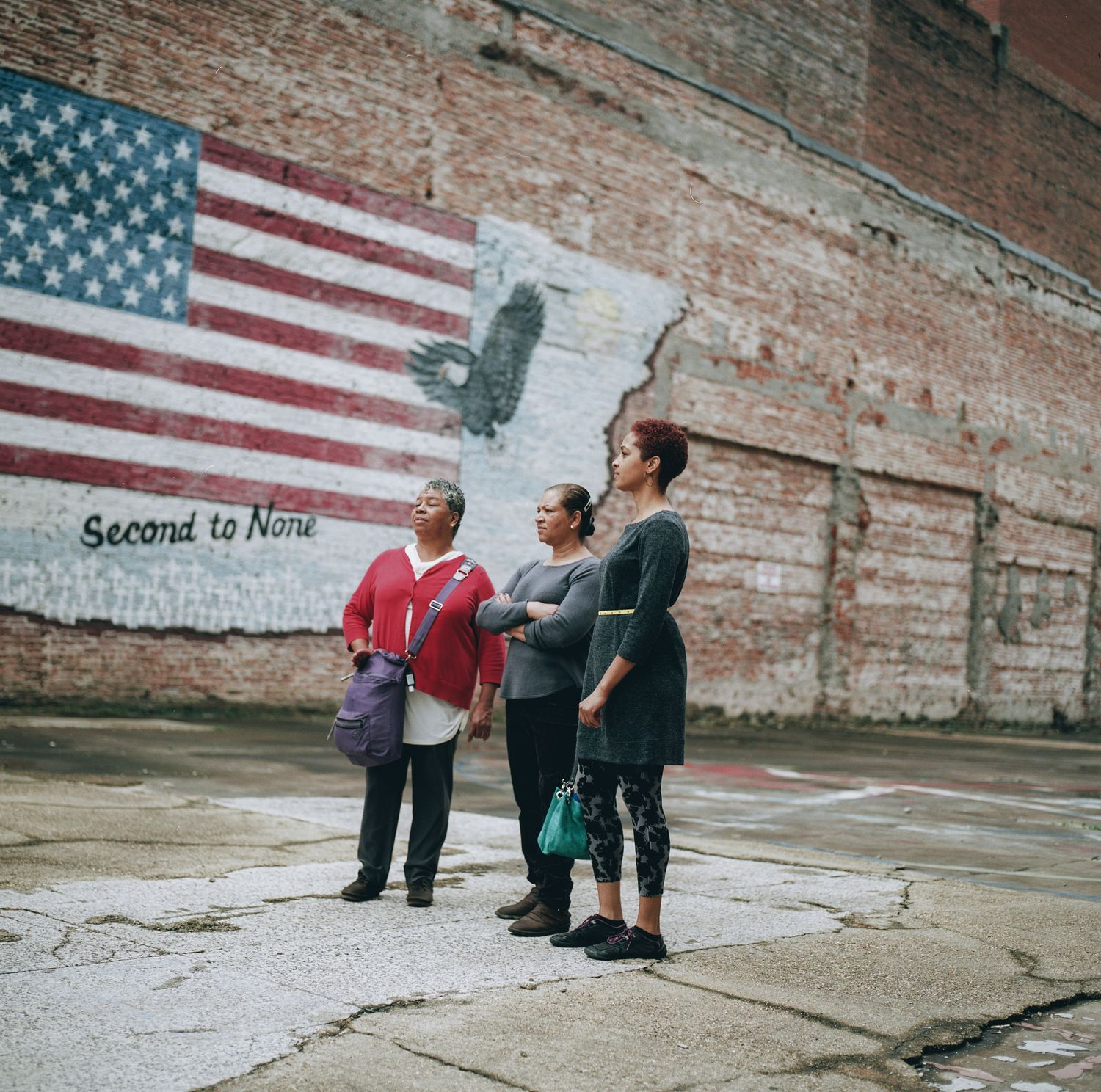 Shirah Dedman, Phoebe Dedman, and Luz Myles visiting Shreveport, Louisiana, where in 1912 their relative Thomas Miles, Sr., was lynched. 2017. (Photo: Rog Walker and Bee Walker for the Equal Justice Initiative)