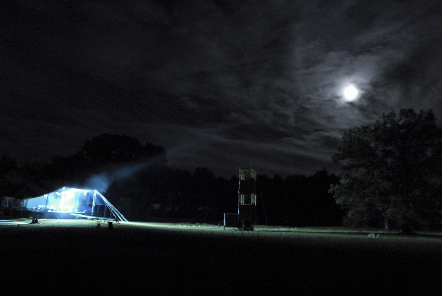 <p>K.C. Testing the Night Stage Lights Under a Full Moon</p>