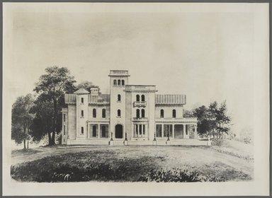 """<em>""""Litchfield Villa façade.""""</em>. Bw photographic print, 17 x 24 in (45 x 61 cm). Brooklyn Museum, CHART_2013. (F129_B79_L71_Litchfield_Villa_facade_PS4.jpg"""