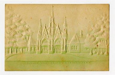"""<em>""""Entrance to Greenwood Cemetery, Brooklyn, N.Y. Recto.""""</em>. Postcard, 3.5 x 5.5 in (8.9 x 14 cm). Brooklyn Museum, CHART_2012. (F129_B79_P84_Greenwood_Cemetery_Entrance_recto.jpg"""