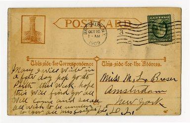 """<em>""""Memorial Arch, Brooklyn, N.Y. Verso.""""</em>. Postcard, 3.5 x 5.5 in (8.9 x 14 cm). Brooklyn Museum, CHART_2012. (F129_B79_P84_Memorial_Arch_verso.jpg"""