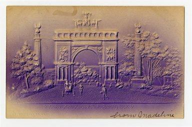 """<em>""""Defenders Arch, Prospect Park, Brooklyn, N.Y. Recto.""""</em>. Postcard, 3.5 x 5.5 in (8.9 x 14 cm). Brooklyn Museum, CHART_2012. (F129_B79_P84_Prospect_Park_Defenders_Arch_recto.jpg"""