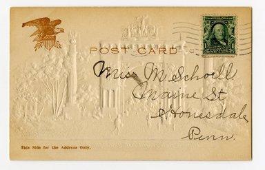 """<em>""""Defenders Arch, Prospect Park, Brooklyn, N.Y. Verso.""""</em>. Postcard, 3.5 x 5.5 in (8.9 x 14 cm). Brooklyn Museum, CHART_2012. (F129_B79_P84_Prospect_Park_Defenders_Arch_verso.jpg"""