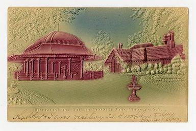 """<em>""""Restaurant and Café in Prospect Park, Brooklyn, N.Y. Recto.""""</em>. Postcard, 3.5 x 5.5 in (8.9 x 14 cm). Brooklyn Museum, CHART_2012. (F129_B79_P84_Prospect_Park_Restaurant_Cafe_recto.jpg"""