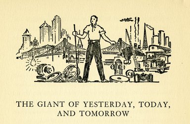 """<em>""""The giant of yesterday, tomorrow, and today (detail).""""</em>. Printed material. Brooklyn Museum. (F129_B79_W45_Weld_Our_Brooklyn_p34a.jpg"""