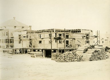 "<em>""Beach Haven: the great seashore opportunity. Views of Beach Haven. View 16: house(s) under construction.""</em>, 1900-1914. Bw photograph (original print), 9 x 7in (23 x 18cm). Brooklyn Museum, Beachhaven. (F142_O2_B35_Beachhaven_014.jpg"