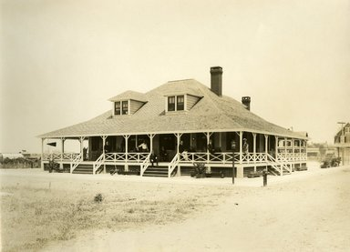 "<em>""Beach Haven: the great seashore opportunity. Views of Beach Haven. View 17: house with men on porch.""</em>, 1900-1914. Bw photograph (original print), 9 x 7in (23 x 18cm). Brooklyn Museum, Beachhaven. (F142_O2_B35_Beachhaven_015.jpg"