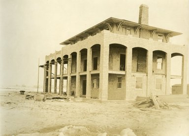 "<em>""Beach Haven: the great seashore opportunity. Views of Beach Haven. View 19: house(s) under construction.""</em>, 1900-1914. Bw photograph (original print), 9 x 7in (23 x 18cm). Brooklyn Museum, Beachhaven. (F142_O2_B35_Beachhaven_017.jpg"