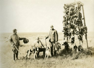 "<em>""Beach Haven: the great seashore opportunity. Views of Beach Haven. View 25: duck hunters with dogs.""</em>, 1900-1914. Bw photograph (original print), 9 x 7in (23 x 18cm). Brooklyn Museum, Beachhaven. (F142_O2_B35_Beachhaven_023.jpg"