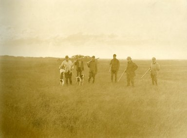 "<em>""Beach Haven: the great seashore opportunity. Views of Beach Haven. View 27: duck hunters with dogs.""</em>, 1900-1914. Bw photograph (original print), 9 x 7in (23 x 18cm). Brooklyn Museum, Beachhaven. (F142_O2_B35_Beachhaven_025.jpg"