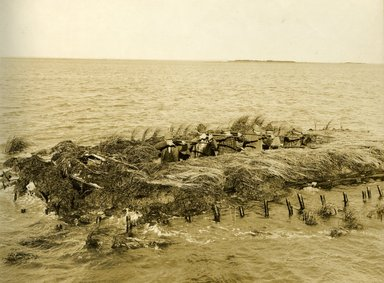 "<em>""Beach Haven: the great seashore opportunity. Views of Beach Haven. View 33: duck hunters in blind.""</em>, 1900-1914. Bw photograph (original print), 9 x 7in (23 x 18cm). Brooklyn Museum, Beachhaven. (F142_O2_B35_Beachhaven_031.jpg"